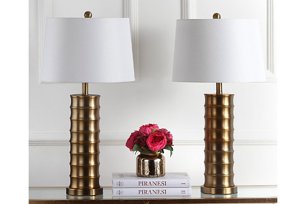 Cylinder Shaped Brass Table Lamp (Set of 2), , large