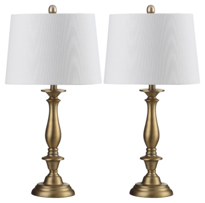 Image of Candlestick Table Lamp (Set of 2), Antique Gold Finish