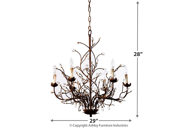 Home Accents 6-Light Iron Branch Chandelier, , large