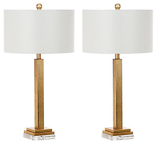 Gold Finished Crystal Base Table Lamp (Set of 2), , large