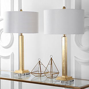 Gold Finished Crystal Base Table Lamp (Set of 2), , rollover