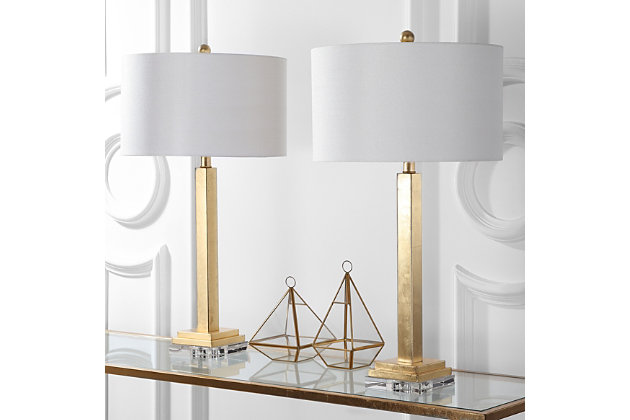 Gold Finished Crystal Base Table Lamp (Set of 2), , large