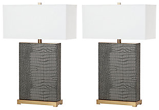 Faux Alligator Table Lamp (Set of 2), Gray, large