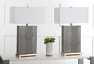 Faux Alligator Table Lamp (Set of 2), Gray, rollover