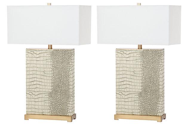Faux Alligator Table Lamp (Set of 2), Cream, large