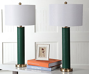 Faux Leather Table Lamp (Set of 2), Emerald, rollover