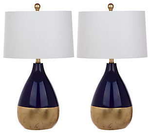Metal Two Toned Table Lamp (Set of 2), Navy/Gold Finish, large