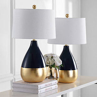 Metal Two Toned Table Lamp (Set of 2), Navy/Gold Finish, rollover