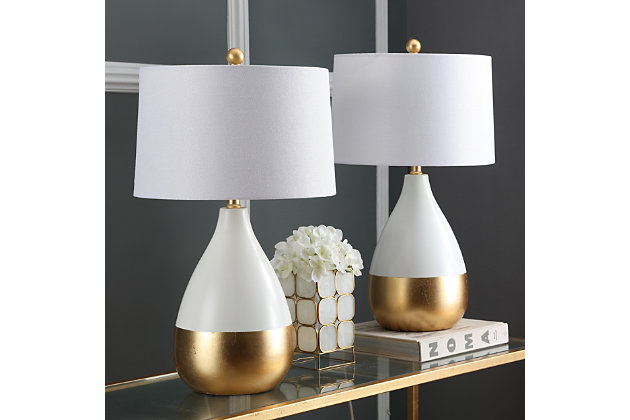 Metal Two Toned Table Lamp (Set of 2), Pearl/Gold Finish, large