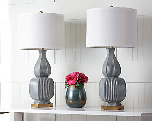 Textured Ceramic Table Lamp (Set of 2), , rollover
