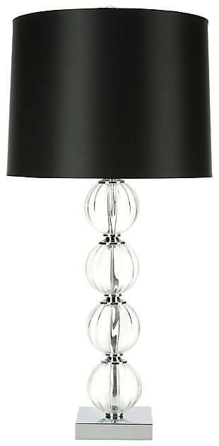 Stacked Globe Table Lamp, Black, large