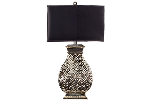 Silver Finished Scuplted Table Lamp, , large