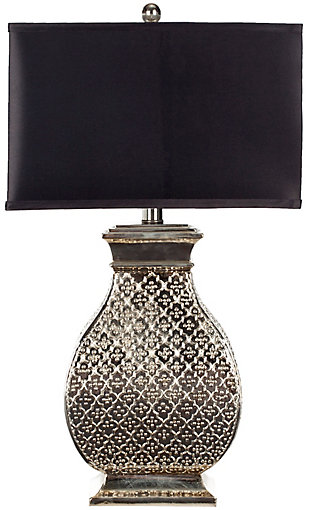 Silver Finished Scuplted Table Lamp, , rollover