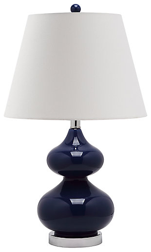 Double Gourd Glass Table Lamp, Navy, large