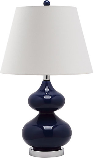 Double Gourd Glass Table Lamp, Navy, rollover