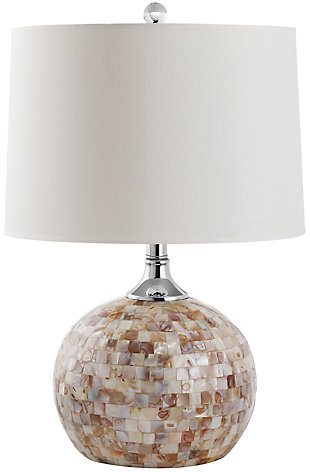Shell Gourd Shaped Table Lamp, Taupe, rollover