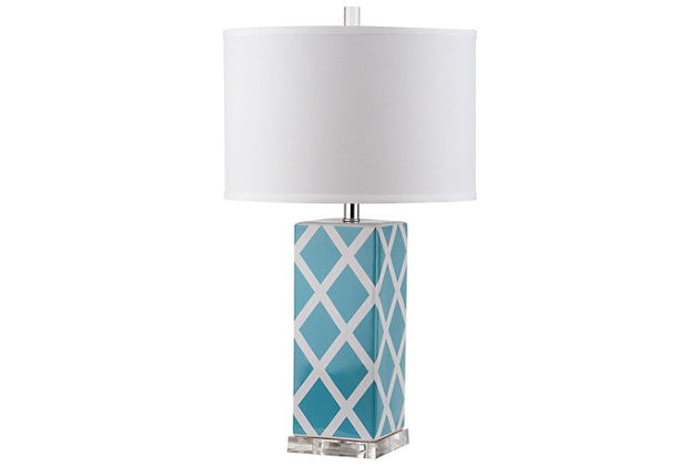 Lattice Patterned Table Lamp, Light Blue, large