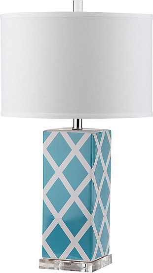 Lattice Patterned Table Lamp, Light Blue, rollover