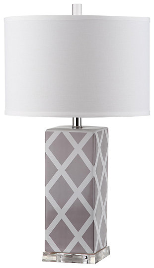 Lattice Patterned Table Lamp, Gray, large