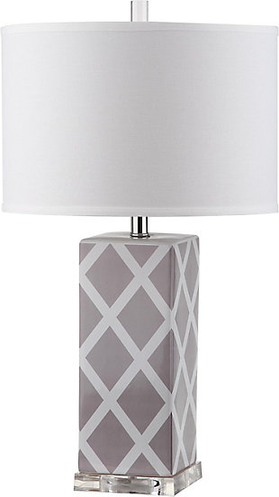 Lattice Patterned Table Lamp, Gray, rollover