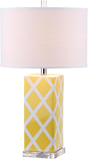 Lattice Patterned Table Lamp, Yellow, large