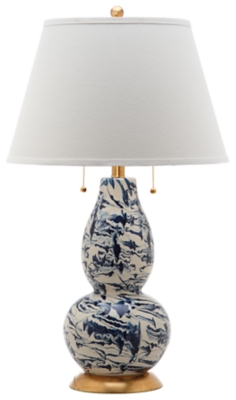 Glass Color Swirled Table Lamp, White/Navy, large