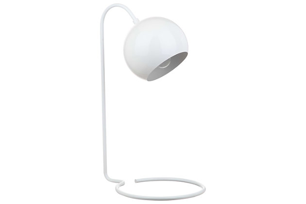 Metal Contemporary Table Lamp, White, large