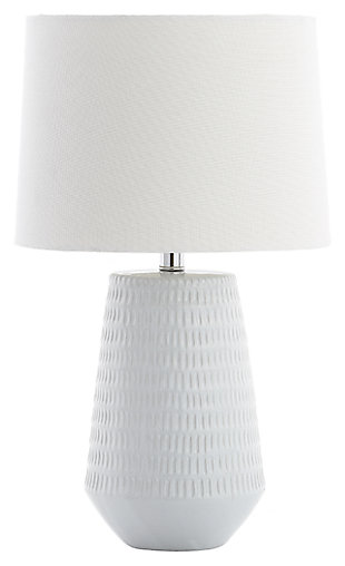 Ceramic Textured Table Lamp, White, large