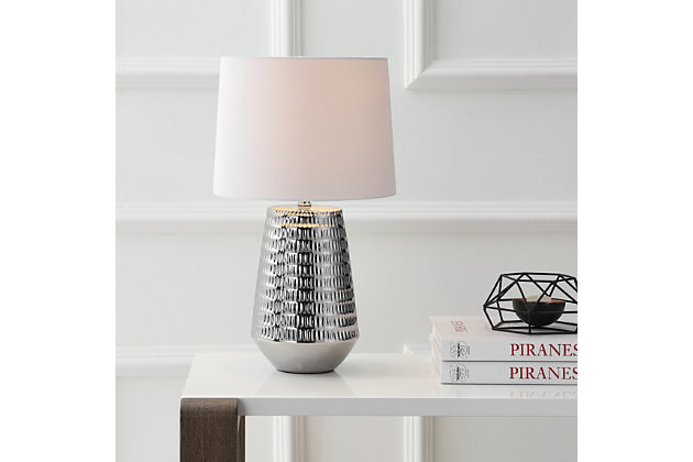 Ceramic Textured Table Lamp, Silver Finish, large