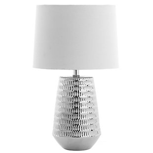 Ceramic Textured Table Lamp, Silver Finish, rollover