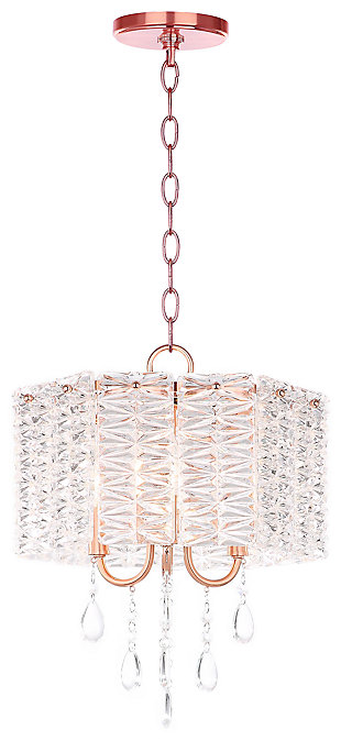 "Metal 13.5"" Chandelier, Copper Finish/Transparent, large"