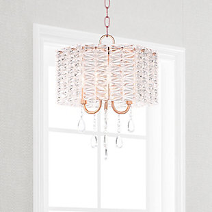 "Metal 13.5"" Chandelier, Copper Finish/Transparent, rollover"