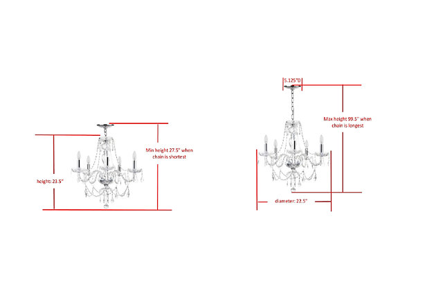 "Adjustable Length 22.5"" Chandelier, , large"