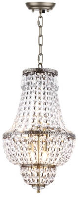 "Image of Adjustable Length 12.15"" Chandelier, Brass Finish/Transparent"