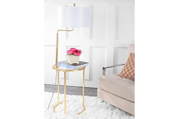 "Gold Finished End Table 57"" Floor Lamp, , large"