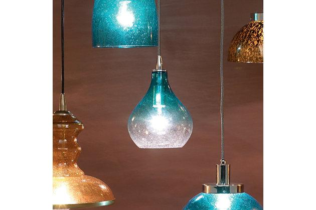 Curved Aqua Pendant - Small, Aqua, large