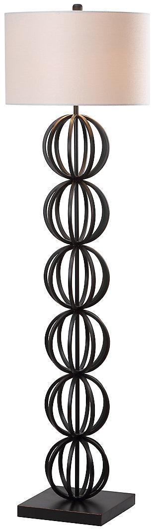 "Black Finish Sphere 58.25"" Floor Lamp, , large"
