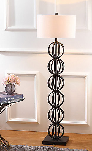 "Black Finish Sphere 58.25"" Floor Lamp, , rollover"