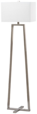 "Image of Nickel Finish Triangle Base 60"" Floor Lamp, Nickel Finish"