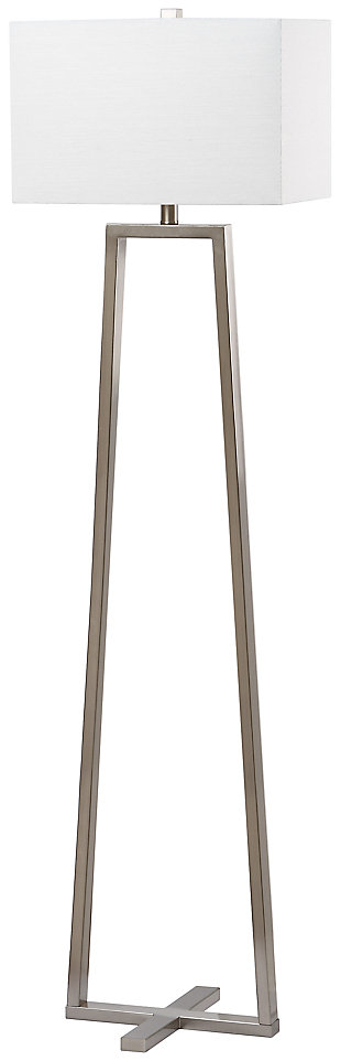 "Nickel Finish Triangle Base 60"" Floor Lamp, , large"