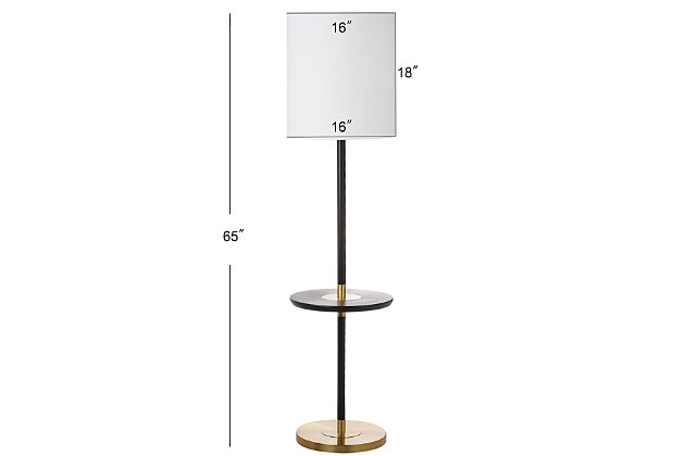 "Black Finish End Table 65"" Floor Lamp, , large"