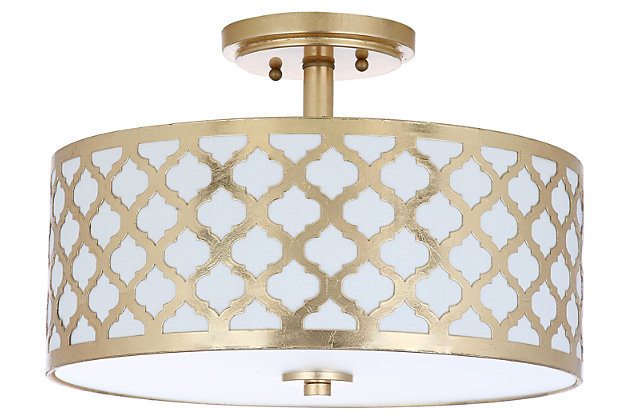 """Quartrefoil Design 15"""" Flush Mount Pendant Light, Gold Finish, large"""