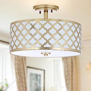 """Quartrefoil Design 15"""" Flush Mount Pendant Light, Gold Finish, rollover"""