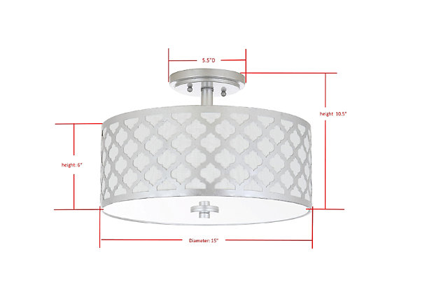 """Quartrefoil Design 15"""" Flush Mount Pendant Light, Silver Finish, large"""