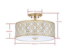 "Patterned Design 15.5"" Flush Mount Pendant Light, Gold Finish, large"