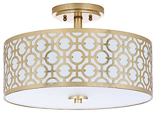 "Patterned Design 15.5"" Flush Mount Pendant Light, Gold Finish, large"
