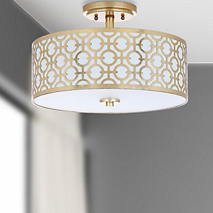 "Patterned Design 15.5"" Flush Mount Pendant Light, Gold Finish, rollover"