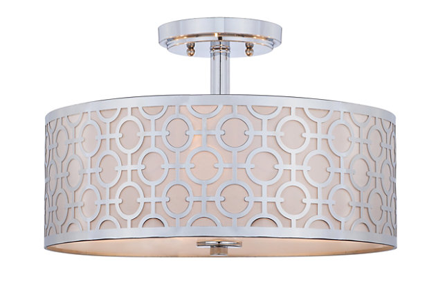 """Patterned Design 15.5"""" Flush Mount Pendant Light, Chrome Finish, large"""