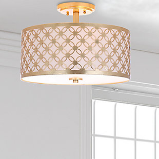 "Patterned Design 16"" Flush Mount Pendant Light, Gold Finish, large"