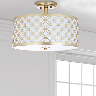 "Patterned Design 16"" Flush Mount Pendant Light, Gold Finish, rollover"